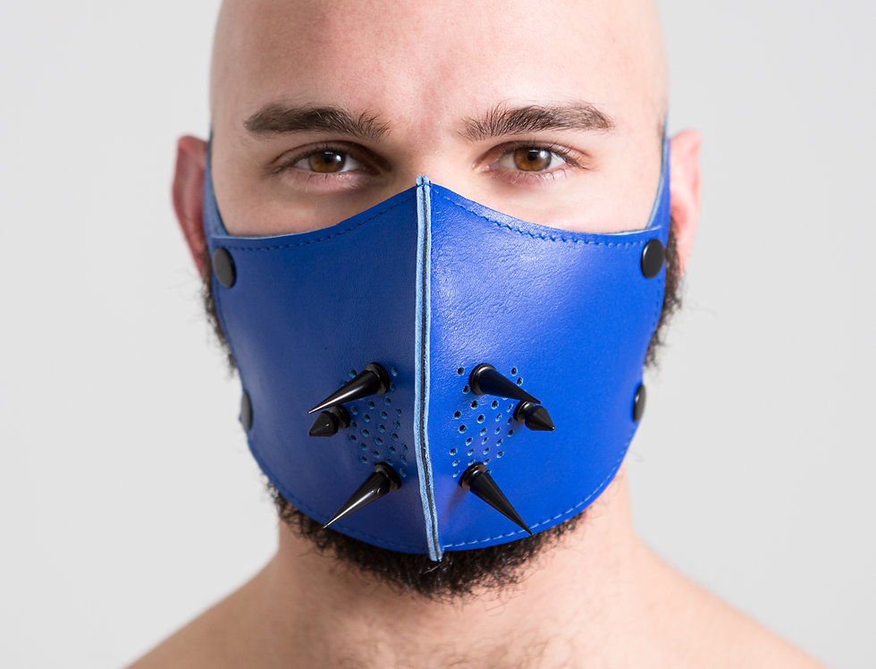 LEATHER BLUE PUNK MASK with black spike
