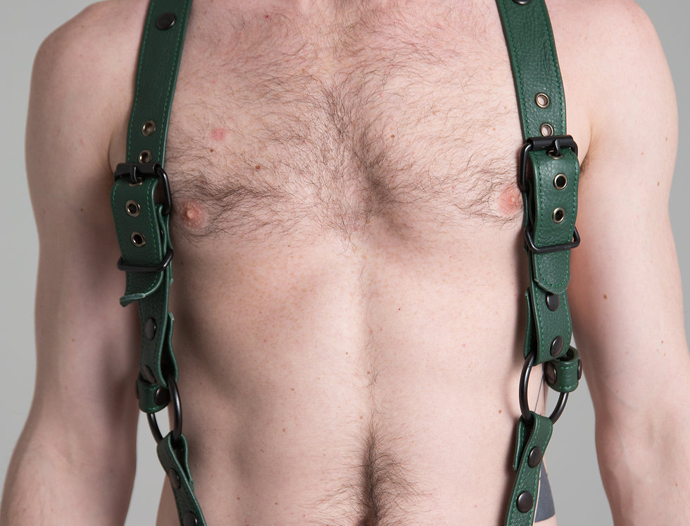 SUSPENDERS GREEN FOREST LEATHER with black or silver snaps and ring