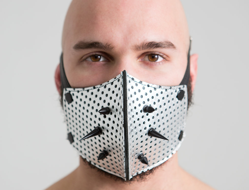 LEATHER SILVER PUNK MASK with black spike