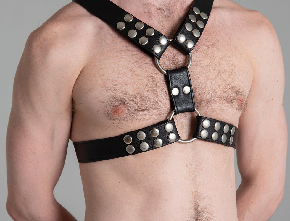 CLASSIC BLACK X HARNESS with silver snap and ring