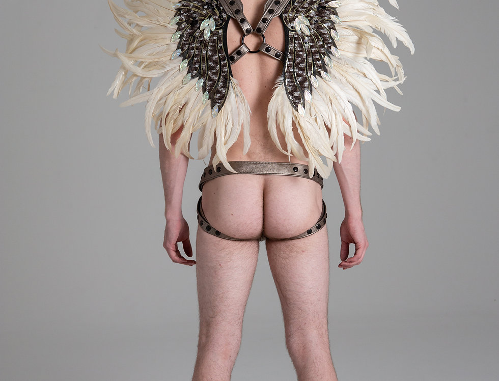 X LEATHER HARNESS WHITE WINGS