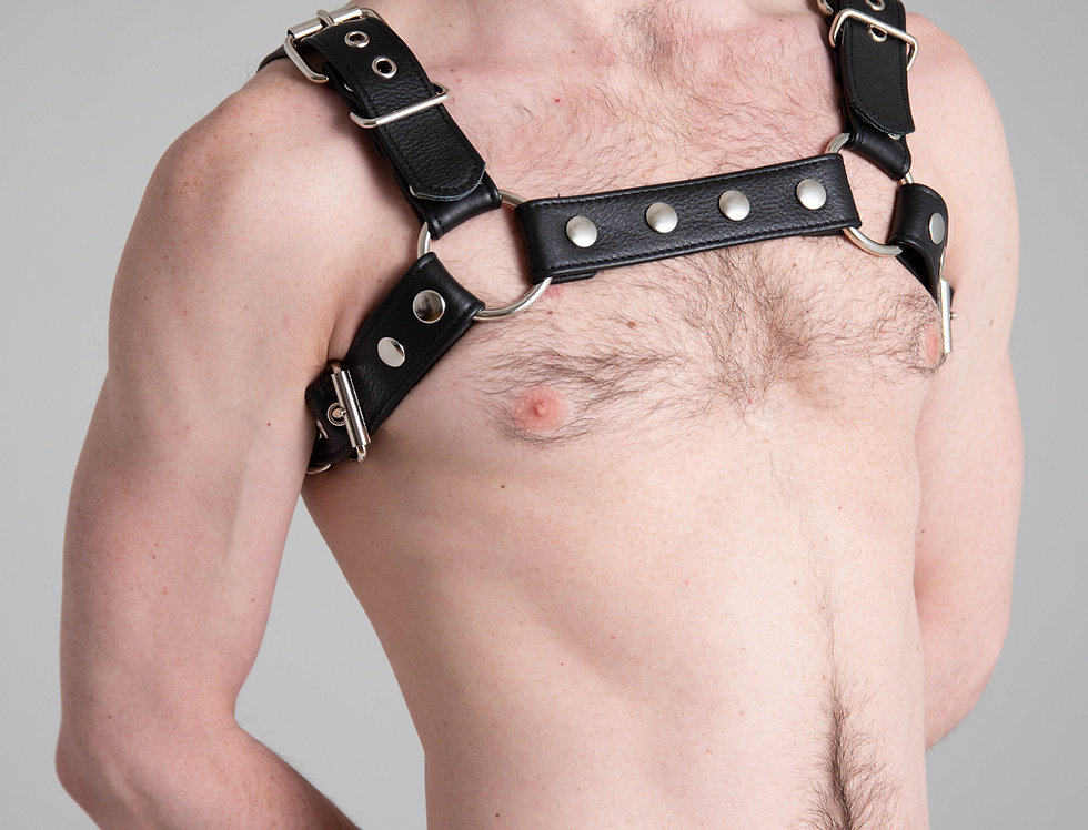 BULLDOG BLACK LEATHER with silver buckle and snap