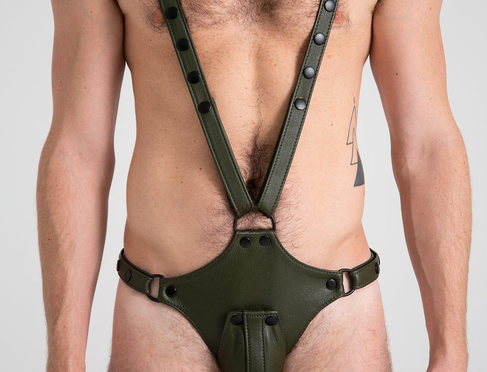 LEATHER GREEN BODYSUIT with cock cage