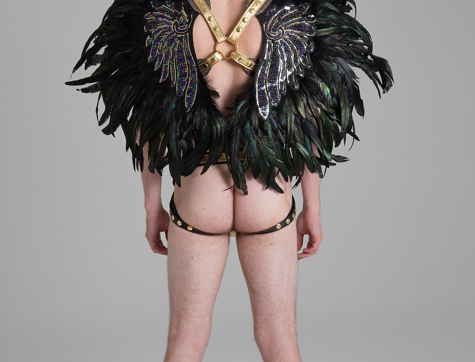 X LEATHER HARNESS DARK GREEN WINGS