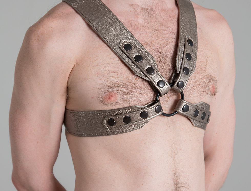 X LEATHER METALLIC PEWTER HARNESS with black snaps and ring