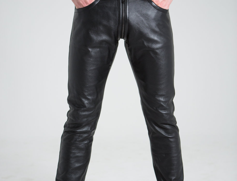 LEATHER PANTS FULL ZIPPER FRONT TO BACK