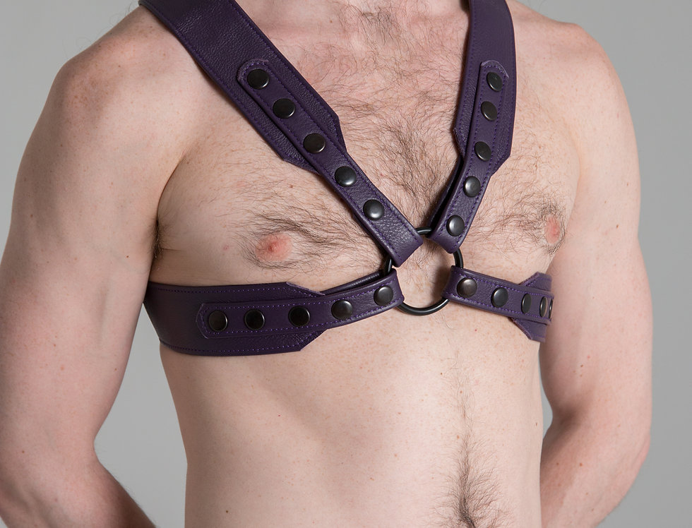X LEATHER PURPLE HARNESS with silver or black snaps and ring