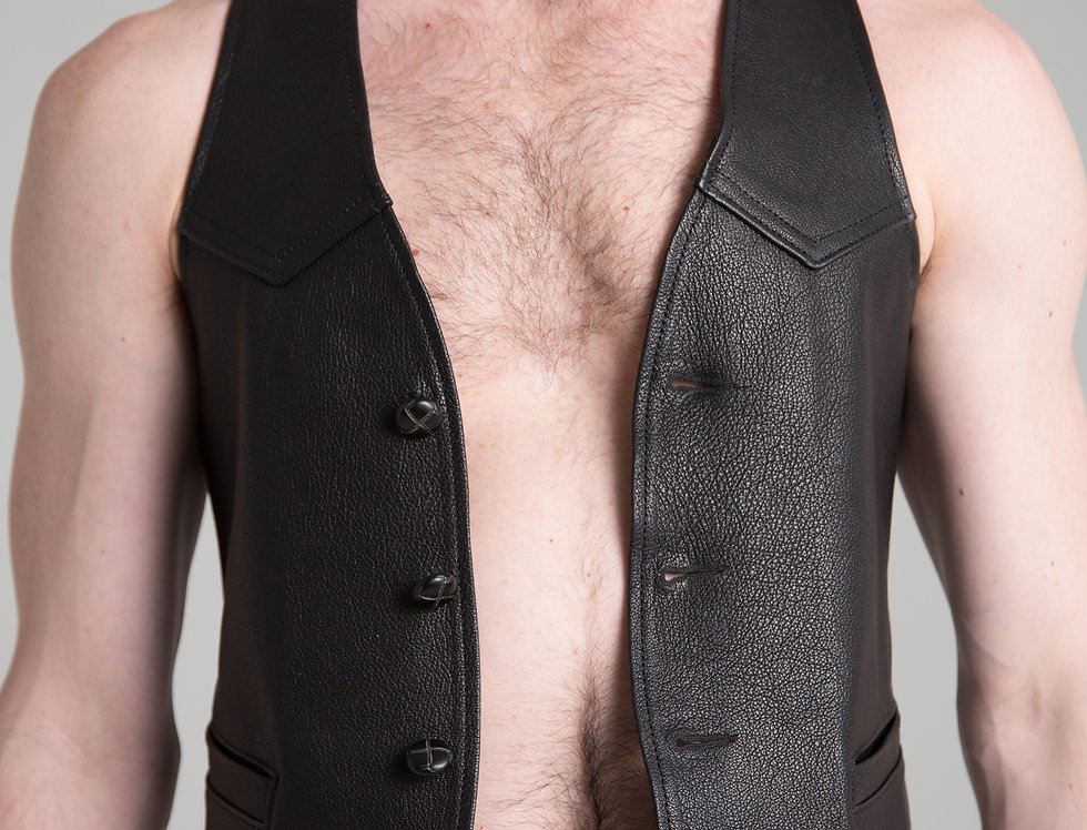 VEST BLACK LEATHER