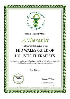 Mid Wales Guild of Holistic Therapists Membership Certificate