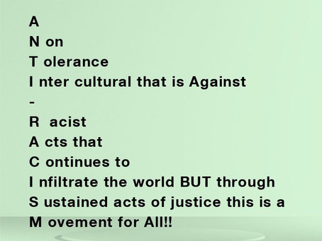 Acrostic Poems - Racism 2020