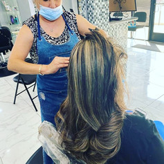 highlights and blowdry