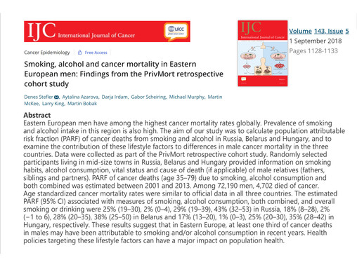 Smoking, alcohol and cancer mortality in Eastern European men