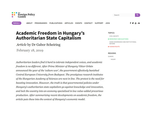 Academic Freedom in Hungary's Authoritarian State Capitalism