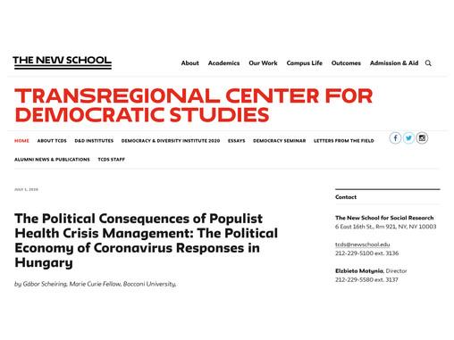 The Political Economy of Coronavirus Responses in Hungary