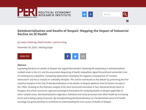 Deindustrialization and deaths of despair