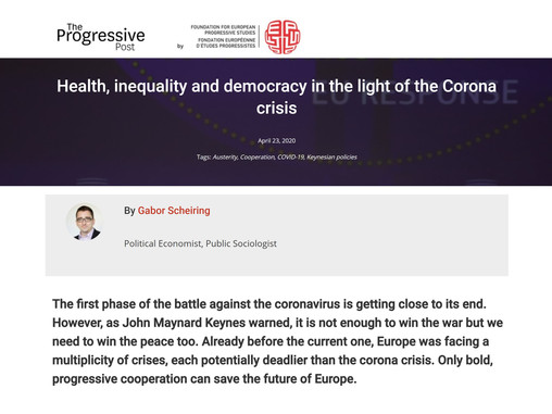 Health, inequality and democracy in the light of the Corona crisis