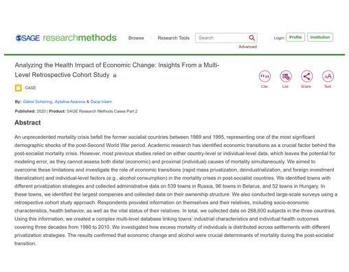 Analyzing the Health Impact of Economic Change
