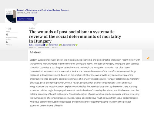 The wounds of post-socialism: a systematic review of the social determinants of mortality in Hungary