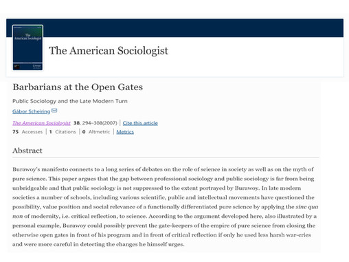 Barbarians at the Open Gates: Public Sociology and the Late Modern Turn