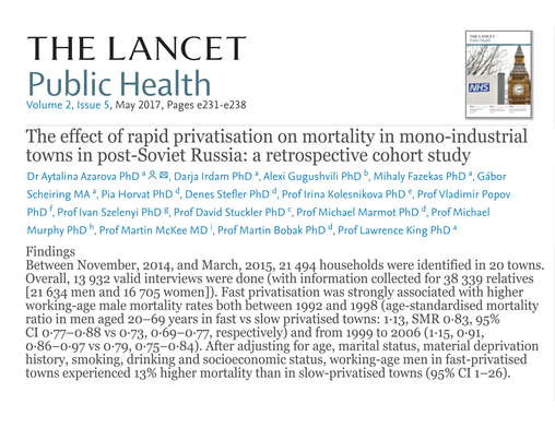 The effect of rapid privatisation on mortality in mono-industrial towns in post-Soviet Russia