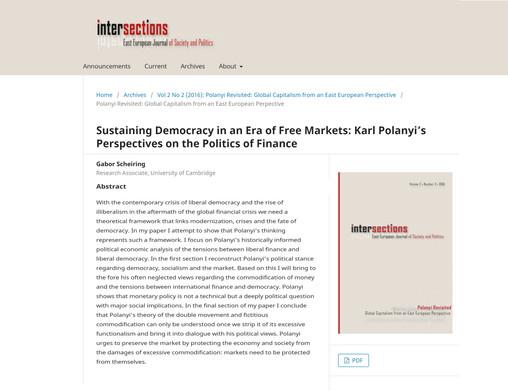Sustaining Democracy in an Era of Dependent Financialization