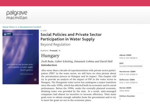 Social Policies and Private Sector Participation in Water Supply: Hungary