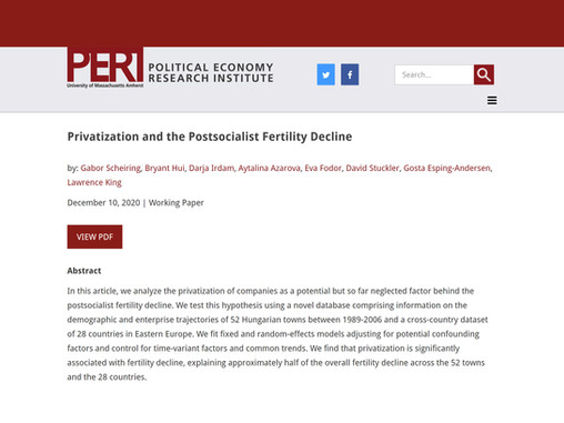 Privatization and the postsocialist fertility decline