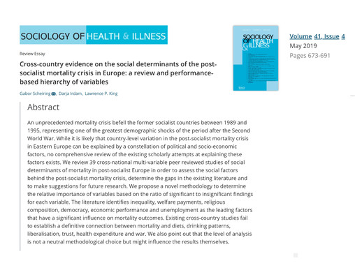 Cross-Country Evidence on the Social Determinants of the Post-Socialist Mortality Crisis in Europe