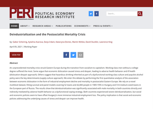 Deindustrialization and the Postsocialist Mortality Crisis