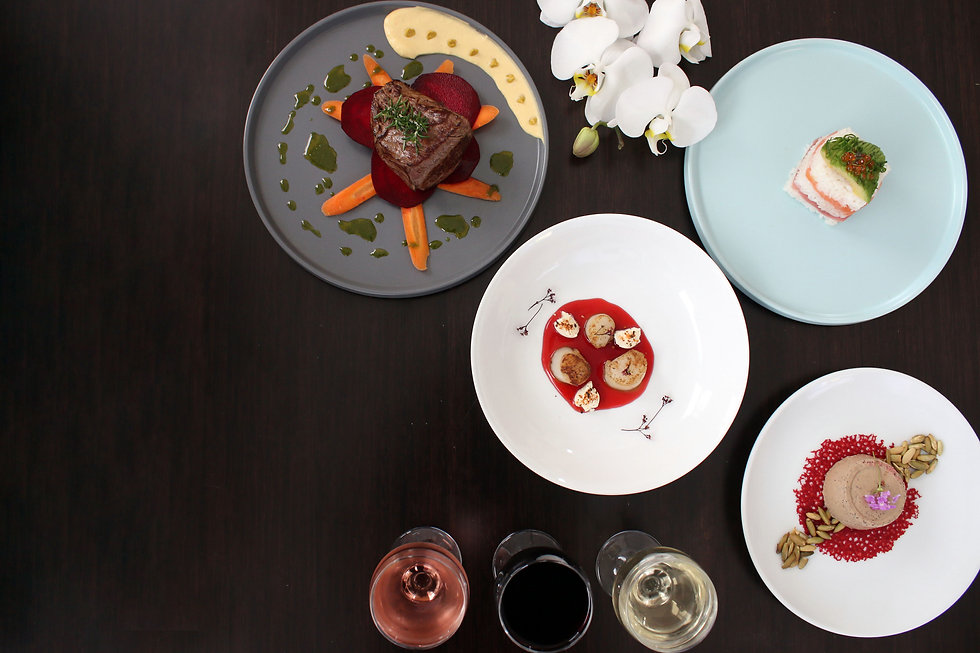 Composite photo of plated food - steak, scallops, wine, sushi and orchids