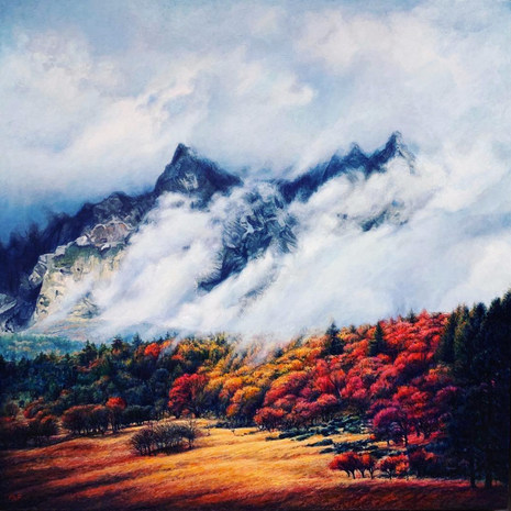 """THE ONLY CONSTANT IS CHANGE  Realistic landscape of autumn, with spectacular fall foliage and beautibul clouds rising up over dark blue mountains.   Based of my photography from Jackson Hole.  Oil Painting on Wooden Panel 16"""" X 16"""" Year of creation: 2019  Framed in silver floater frame.   Available in different variety of products at:"""