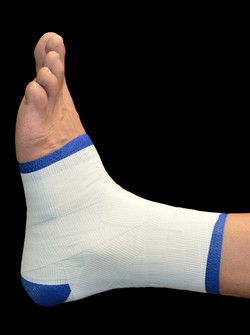 STEP 2 blue white ankle taped