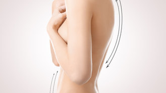 Plastic surgery concept. Female body wit