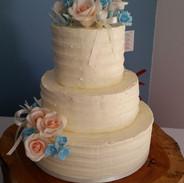 peach and blue combed wedding cake.jpg