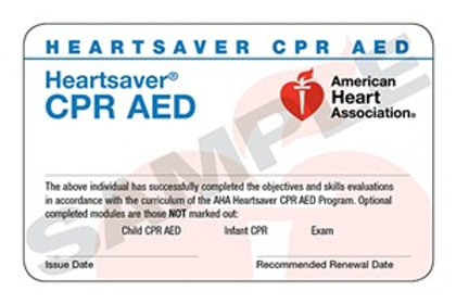 HeartSaver CPR/AED Card