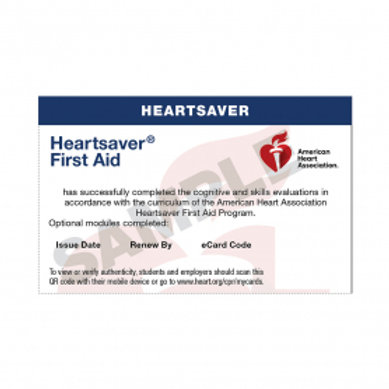 HeartSaver First Aid only E-card
