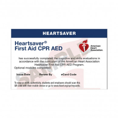 HeartSaver CPR/AED & First Aid Card