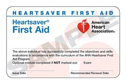 HeartSaver First Aid only card