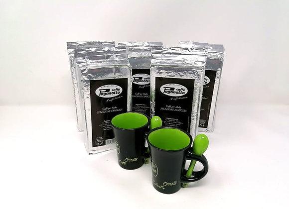 Kaffee-Set 5 Packungen für Moka gemahlen je 250g + 2 Espressotassen