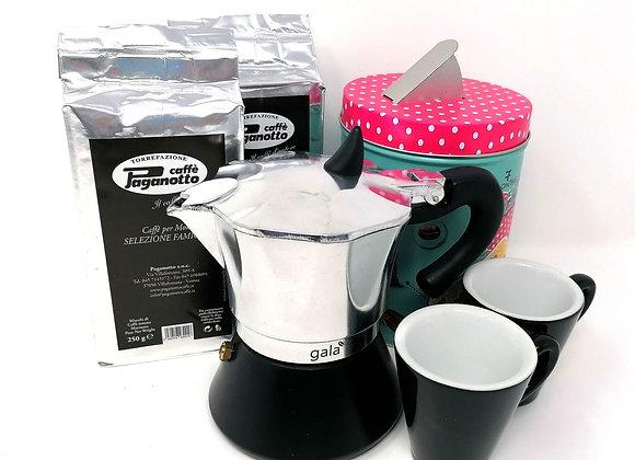 Moka set  2 Espresso Tassen  2x Caffe Paganotto 250g Dosierer
