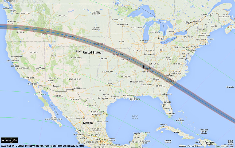Total Solar Eclipse 2017 Area Map