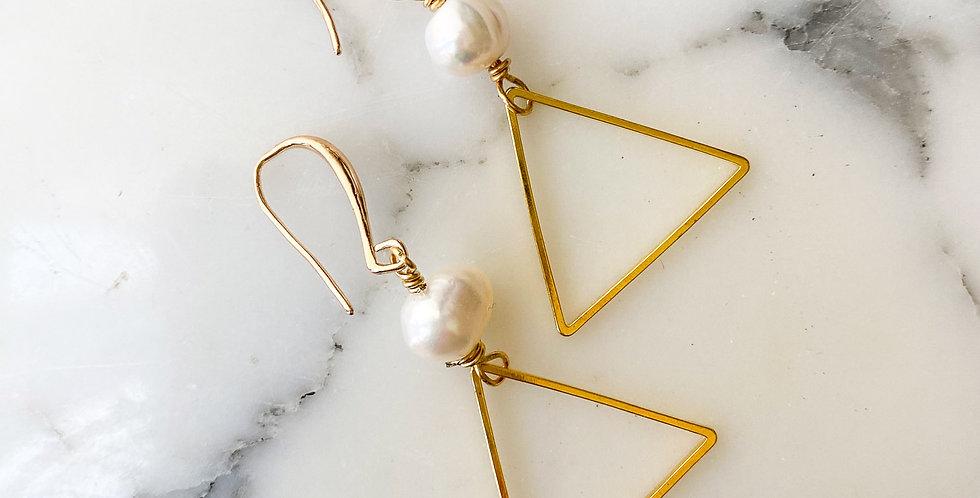 Freshwater Pearl Triangle Earrings