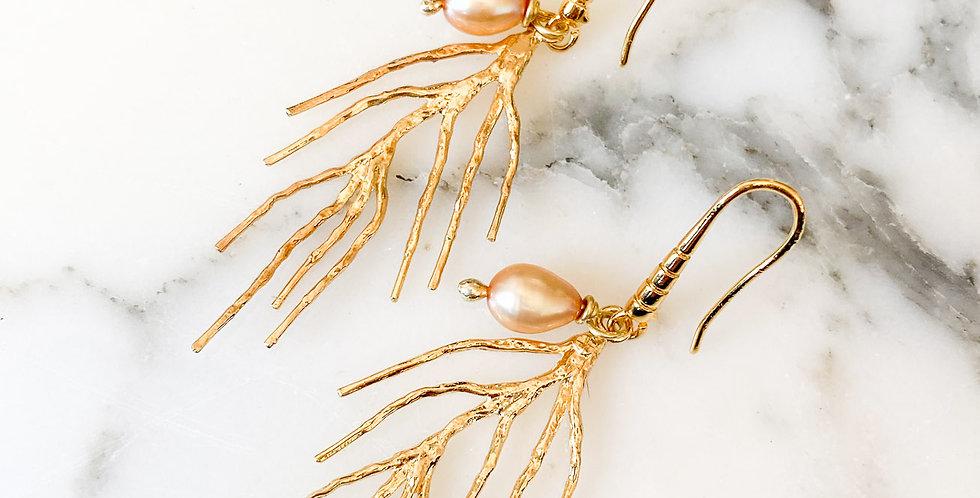 Freshwater Pearl + Coral Fan Earrings