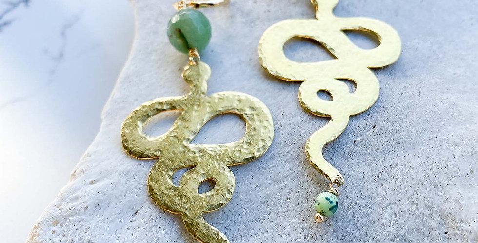 Aventurine Snake Earrings