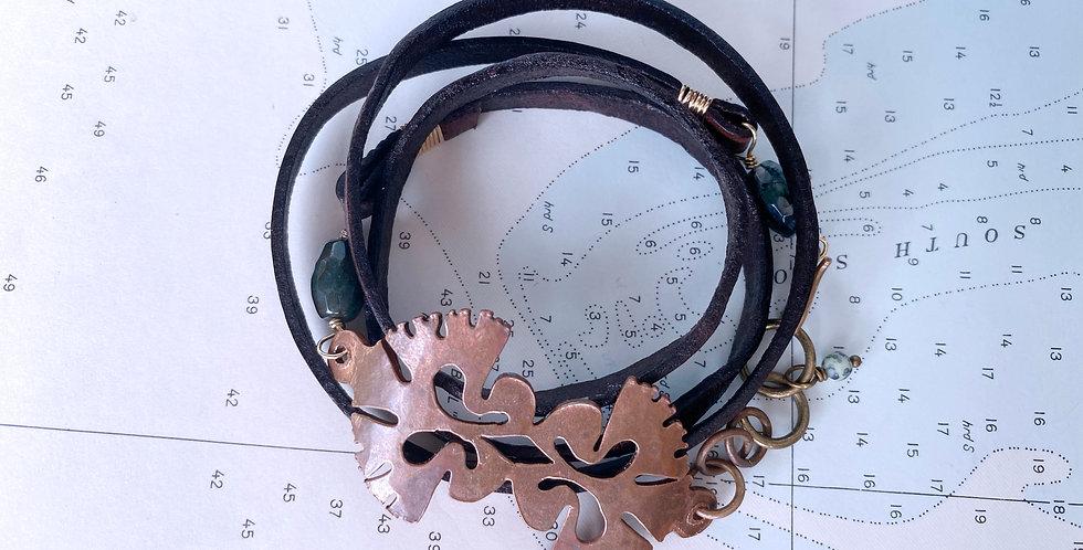 Hand Cut Copper Diatom Wrap Bracelet