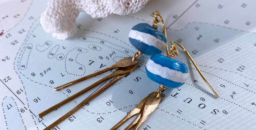 Aqua Stripe Agate Tassel Earrings