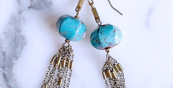 Rustic Turquoise Tassel Earrings