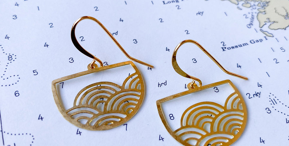 Mini Deco Wave Raw Brass Earrings