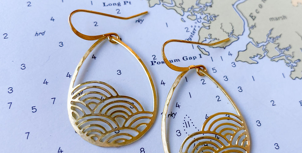 Art Deco Droplet Raw Brass Earrings
