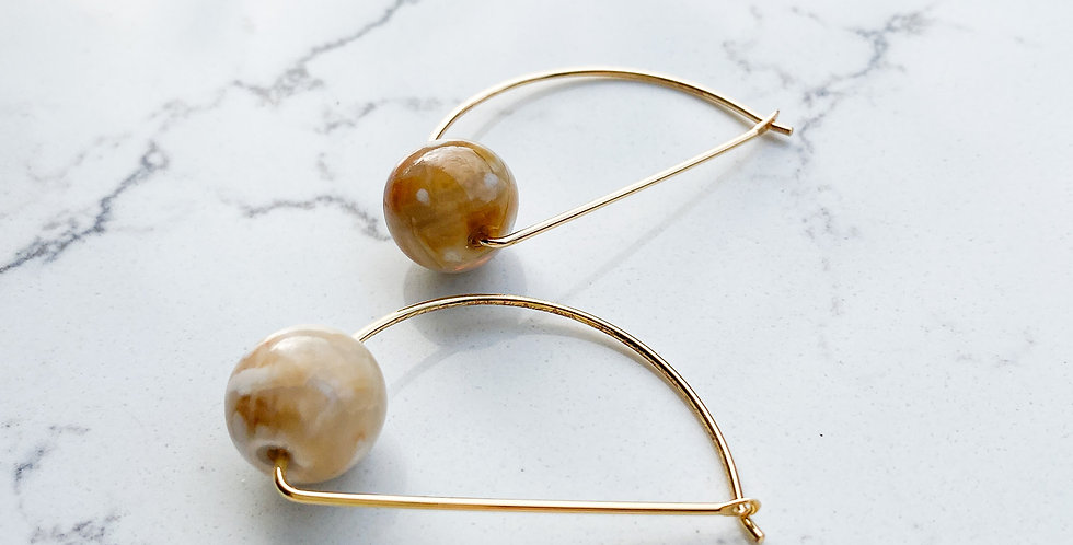 Earthy Agate Half-Moon Hoops